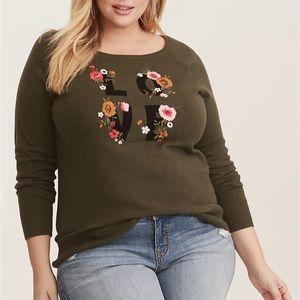 Torrid Olive floral Love Raglan sweater